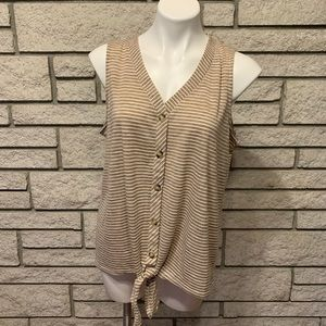 Rose + Olive Sleeveless Stripe Front Tie Top